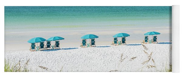 Umbrellas Await On The Beach Yoga Mat