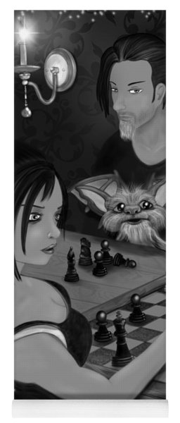 Unexpected Company - Black And White Fantasy Art Yoga Mat