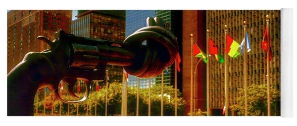 United Nations Building Sculpture  Entrance Street View  Yoga Mat