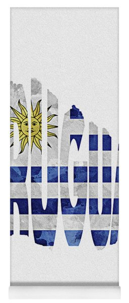 Uruguay Typographic Map Flag Yoga Mat