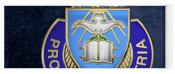 U. S. Army Chaplain Corps - Regimental Insignia Over Blue Velvet Yoga Mat