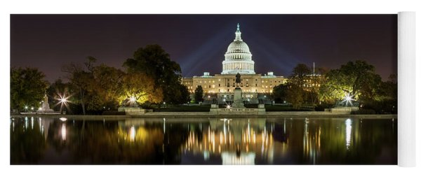 Us Capitol Night Panorama Yoga Mat