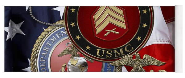 U. S. Marines Sergeant - U S M C Sgt Rank Insignia Over American Flag Yoga Mat