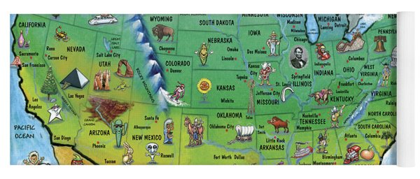 Usa Cartoon Map Yoga Mat