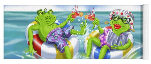 Vacation Happy Frog Couple Yoga Mat