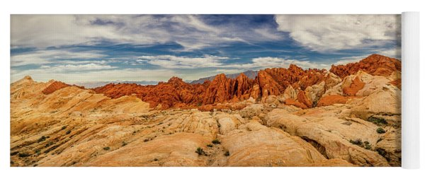 Yoga Mat featuring the photograph Valley Of Fire Panorama by Rikk Flohr