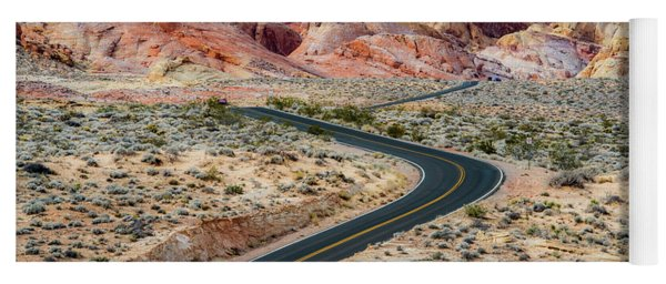 Road Through The Valley Of Fire Yoga Mat