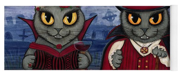 Vampire Cat Couple Yoga Mat