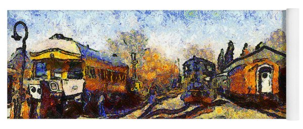 Van Gogh.s Train Station 7d11513 Yoga Mat