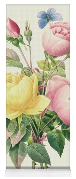 Variety Of Yellow Roses And Bengal Roses Yoga Mat