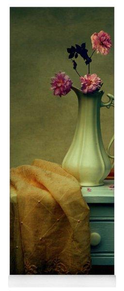 Vase Of Pink Roses Yoga Mat