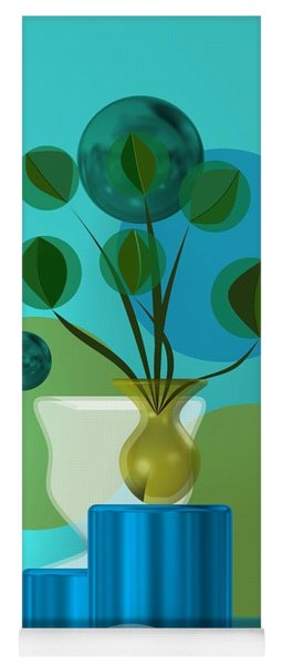 Vase With Bouquet Over Blue Yoga Mat