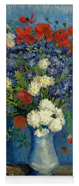 Vase With Cornflowers And Poppies Yoga Mat