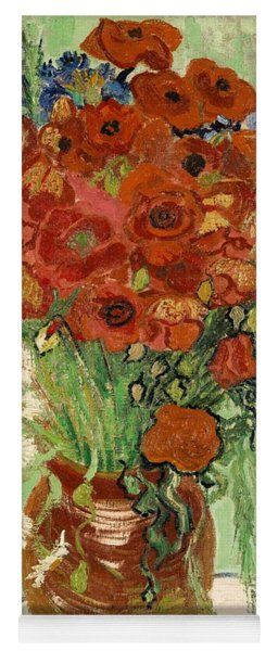 Yoga Mat featuring the painting Vase With Daisies And Poppies by Van Gogh