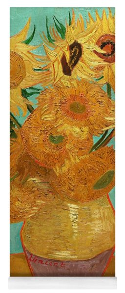Yoga Mat featuring the painting Vase With Twelve Sunflowers by Van Gogh