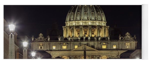 Vatican At Night With Lights  Yoga Mat