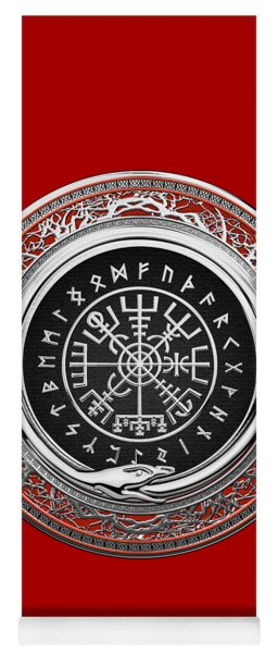 Vegvisir - A Silver Magic Viking Runic Compass On Red Leather  Yoga Mat