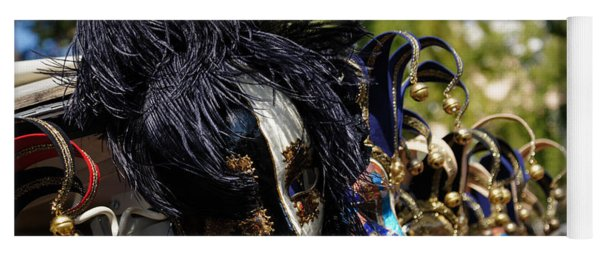 Venice Italy - Black And White Fantasy Mask With Feathers Yoga Mat