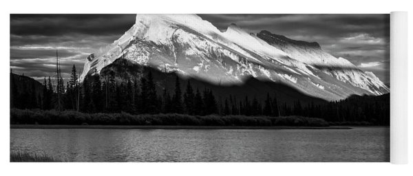 Vermillion Lakes And Mt Rundle Bw Yoga Mat