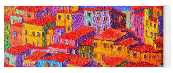 Vernazza Colorful Houses Cinque Terre Italy Impressionist Knife Oil Painting By Ana Maria Edulescu  Yoga Mat