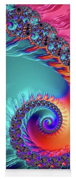 Vibrant And Colorful Fractal Spiral  Yoga Mat