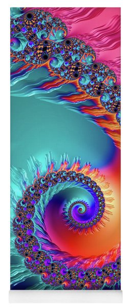 Vibrant And Colorful Fractal Spiral  Yoga Mat