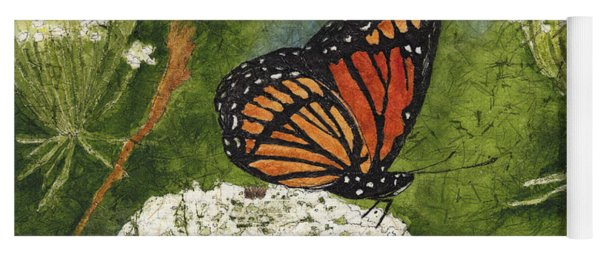 Viceroy Butterfly On Queen Anne's Lace Watercolor Batik Yoga Mat
