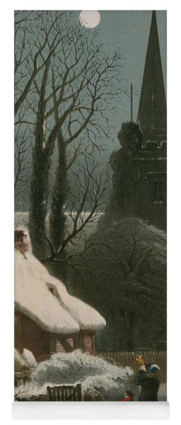 Victorian Christmas Scene With Band Playing In The Snow Yoga Mat