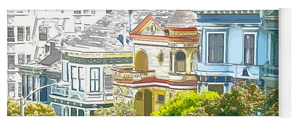Victorian Painted Ladies Houses In San Francisco California Yoga Mat