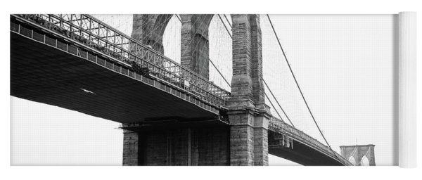 View Brooklyn Bridge With Foggy City In The Background Yoga Mat
