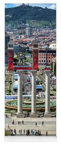 Yoga Mat featuring the photograph View Of Barcelona From Montjuic by Eduardo Jose Accorinti