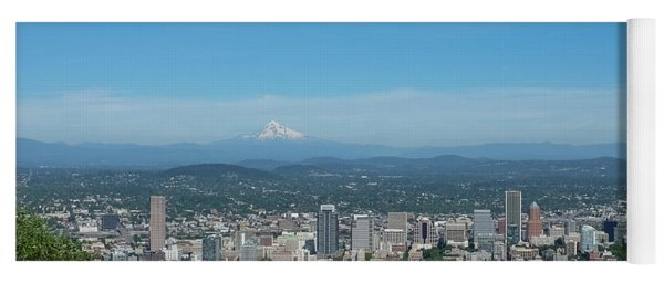 View Of Downtown Portland Oregon From Pittock Mansion Yoga Mat