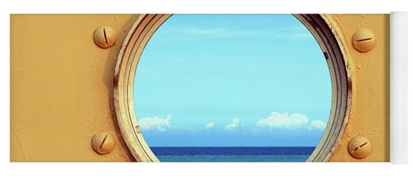 View Of The Ocean Through A Porthole Yoga Mat