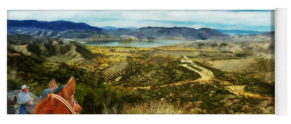 View Of Vail Lake On Horseback Yoga Mat