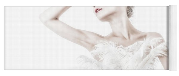Viktory In White - Feathered Yoga Mat