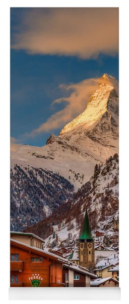 Village Of Zermatt With Matterhorn Yoga Mat