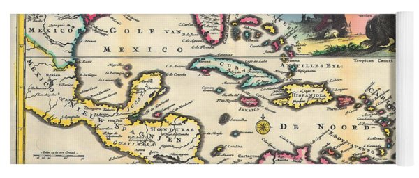 Vintage 1747 Gulf Of Mexico Map Yoga Mat