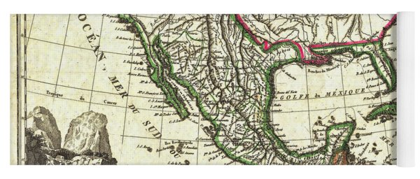 Vintage 1810 Map Of Mexico Texas And California Yoga Mat