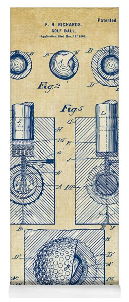 Vintage 1902 Golf Ball Patent Artwork Yoga Mat