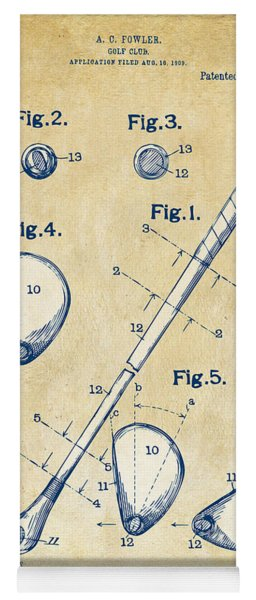 Yoga Mat featuring the digital art Vintage 1910 Golf Club Patent Artwork by Nikki Marie Smith