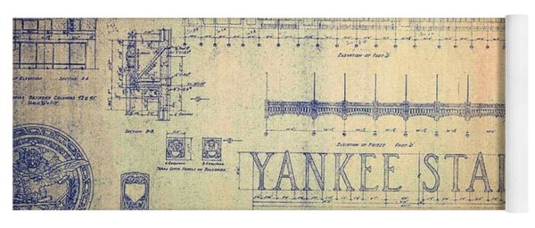 Vintage 1920s Art Deco Yankee Stadium Blueprint Yoga Mat