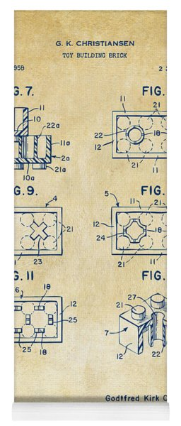 Vintage 1961 Lego Brick Patent Art Yoga Mat
