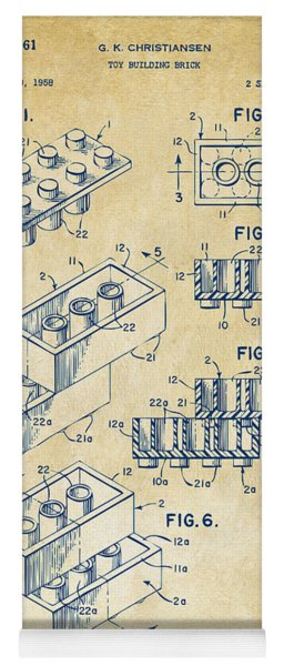 Yoga Mat featuring the drawing Vintage 1961 Toy Building Brick Patent Art by Nikki Marie Smith