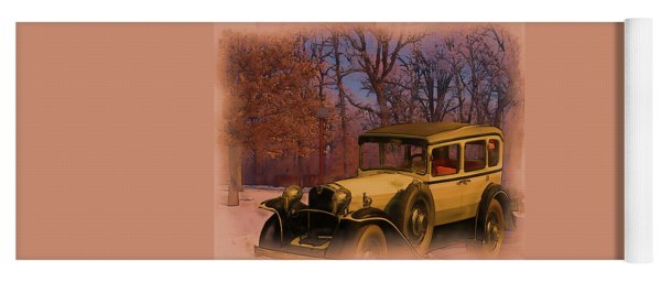 Vintage Auto In Winter Yoga Mat