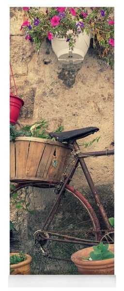Vintage Bicycle Used As A Flower Pot, Provence Yoga Mat