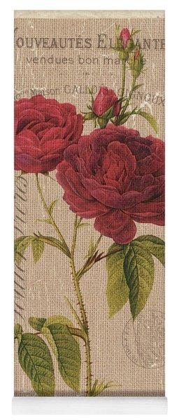 Vintage Burlap Floral 3 Yoga Mat