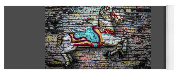 Yoga Mat featuring the photograph Vintage Carousel Horse by Michael Arend