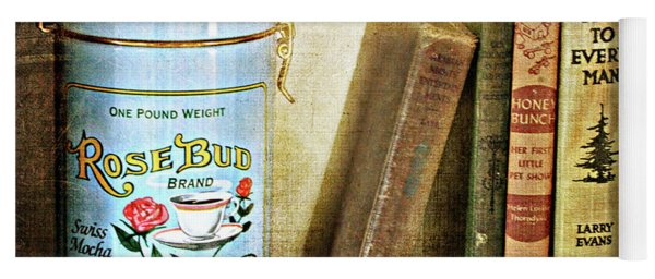Yoga Mat featuring the photograph Vintage Coffee And Books by Trina Ansel