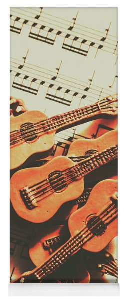 Vintage Guitars On Music Sheet Yoga Mat