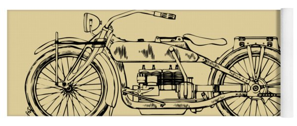 Yoga Mat featuring the digital art Vintage Harley-davidson Motorcycle 1919 Patent Artwork by Nikki Smith